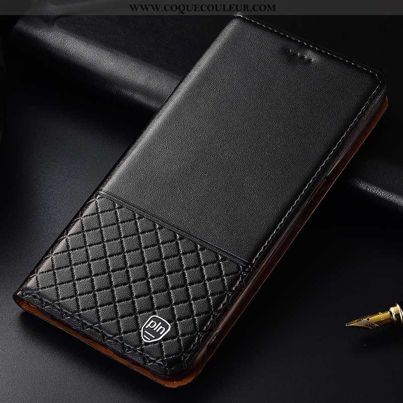 Housse Huawei Y6 2020 Cuir Véritable Incassable Noir, Étui Huawei Y6 2020 Cuir Coque Noir