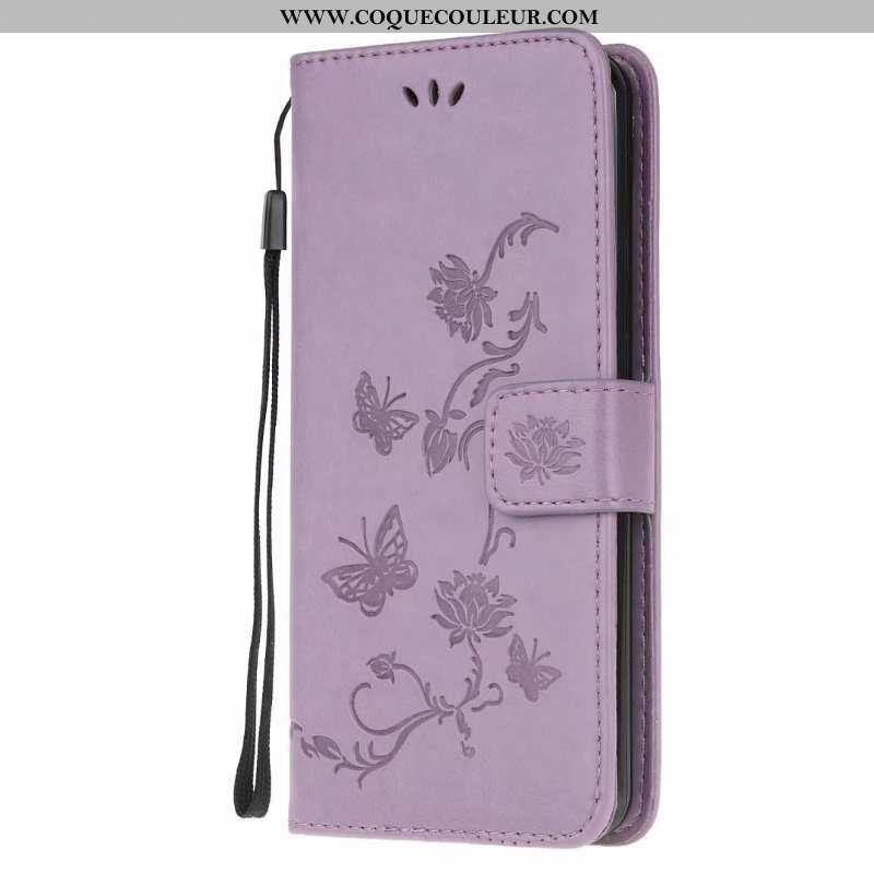 Étui Huawei Y6p Cuir Incassable Violet, Coque Huawei Y6p Fluide Doux Papillon Violet