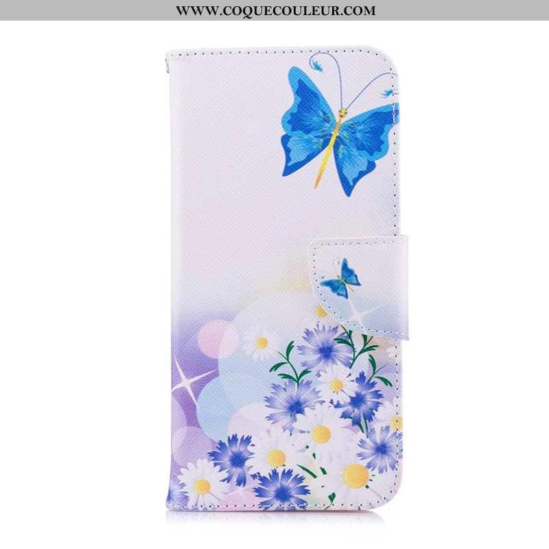 Coque Huawei Y6p Cuir Peinture Bleu, Housse Huawei Y6p Protection Téléphone Portable Bleu
