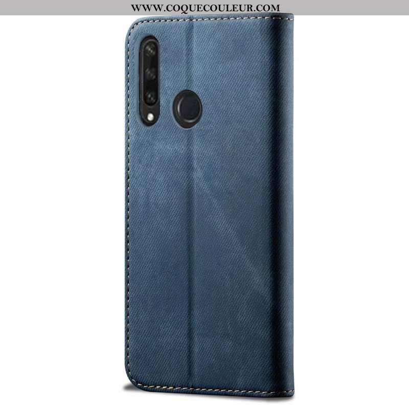 Coque Huawei Y6p Silicone Étui Bleu, Housse Huawei Y6p Protection Cuir Bleu