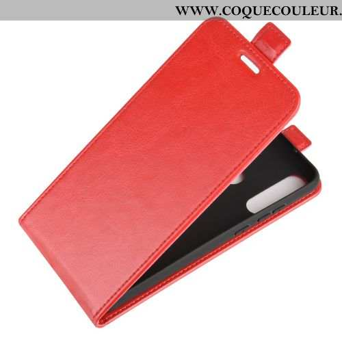 Coque Huawei Y6p Protection Rouge Téléphone Portable, Housse Huawei Y6p Portefeuille Cuir