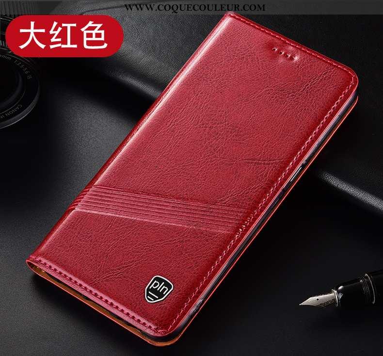 Housse Huawei Y6p Protection Tout Compris Téléphone Portable, Étui Huawei Y6p Cuir Véritable Vin Rou