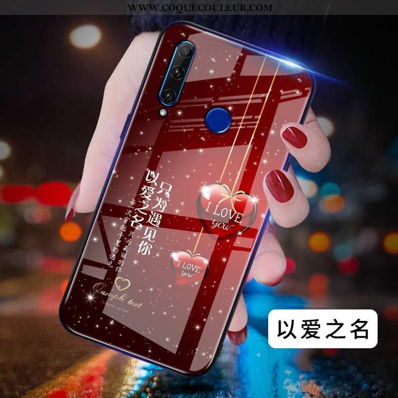 Étui Huawei Y6p Ultra Simple Difficile, Coque Huawei Y6p Légère Délavé En Daim Rouge