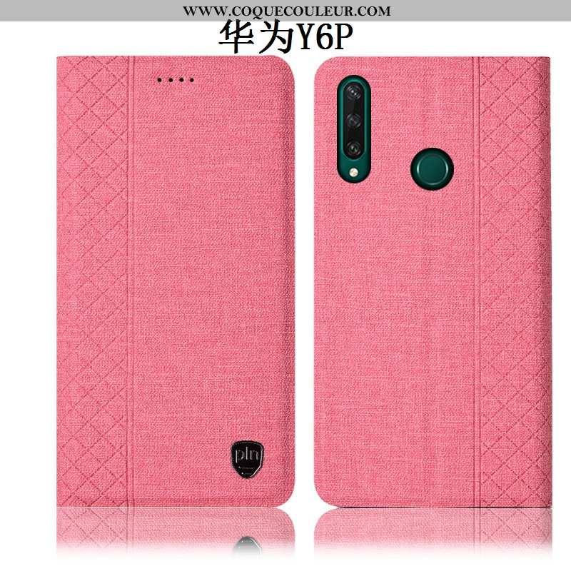 Housse Huawei Y6p Protection Incassable Tout Compris, Étui Huawei Y6p Cuir Téléphone Portable Rose