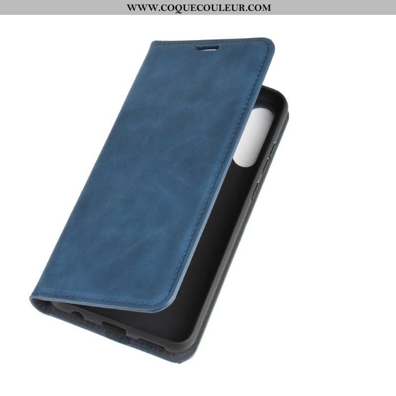 Étui Huawei Y6p Cuir Carte Clamshell, Coque Huawei Y6p Protection Téléphone Portable Bleu