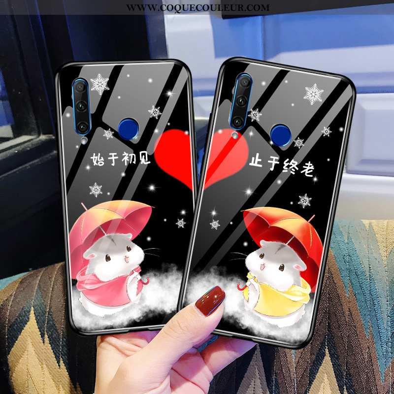 Housse Huawei Y6p Personnalité Net Rouge Noir, Étui Huawei Y6p Créatif Frais Noir