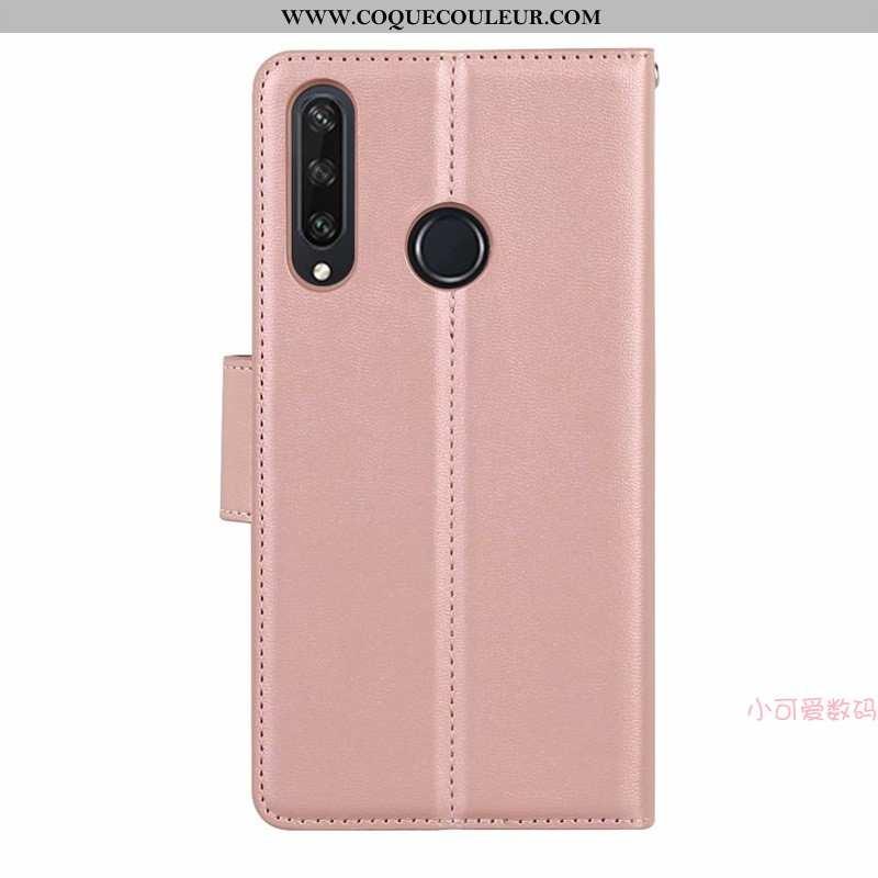 Étui Huawei Y6p Cuir Rose Véritable, Coque Huawei Y6p Silicone Tout Compris