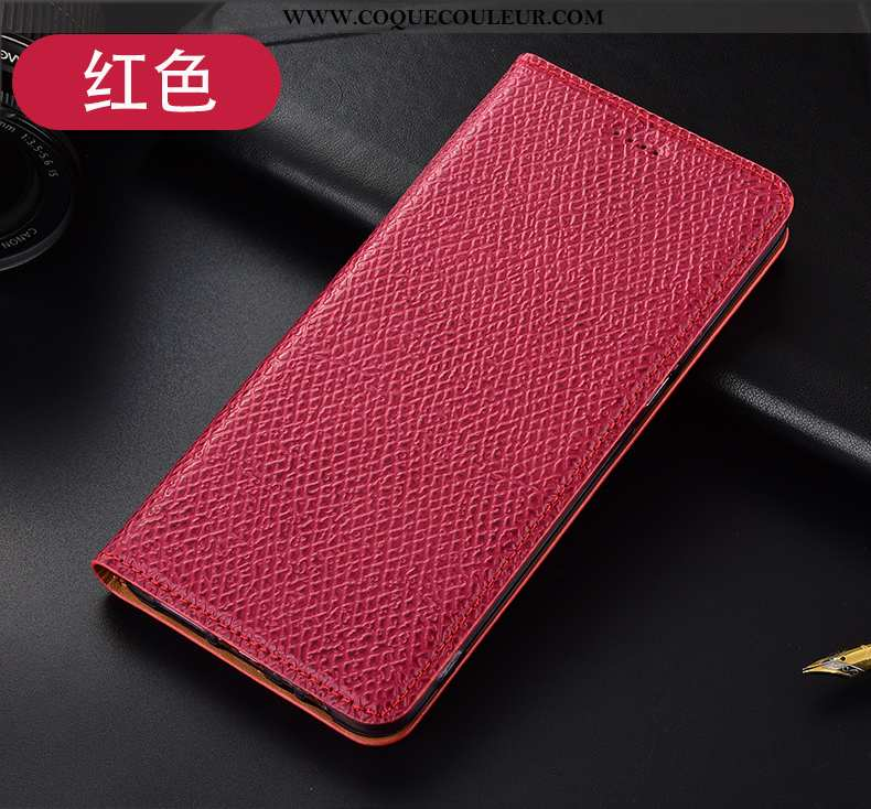 Coque Huawei Y6p Protection Incassable, Housse Huawei Y6p Cuir Véritable Rouge
