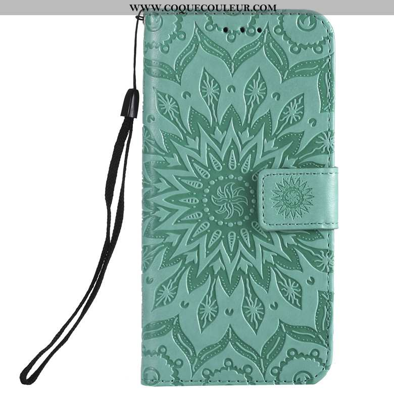 Coque Huawei Y6p Cuir Clamshell Vert, Housse Huawei Y6p Protection Téléphone Portable Verte