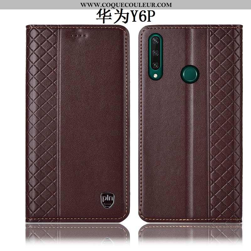Étui Huawei Y6p Cuir Véritable Téléphone Portable Coque, Coque Huawei Y6p Protection Incassable Marr