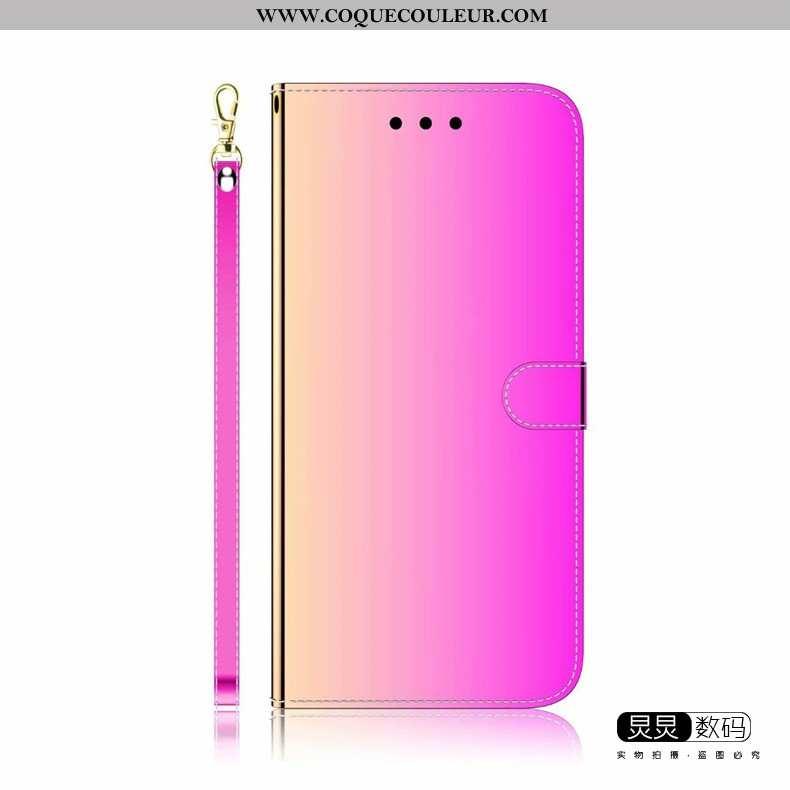 Étui Huawei Y6p Protection Cuir Miroir, Coque Huawei Y6p Personnalité Luxe Violet