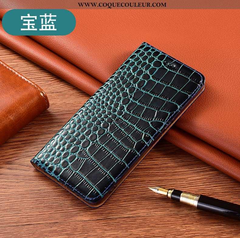Étui Huawei Y6p Protection Coque Téléphone Portable, Huawei Y6p Cuir Véritable Bleu