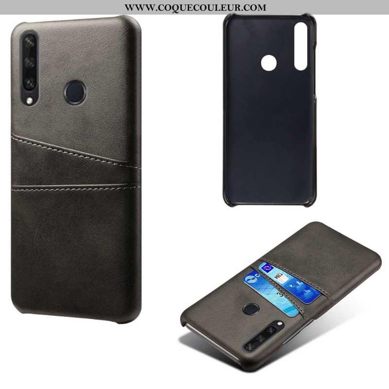 Coque Huawei Y6p Légère Protection Noir, Housse Huawei Y6p Cuir Carte Noir