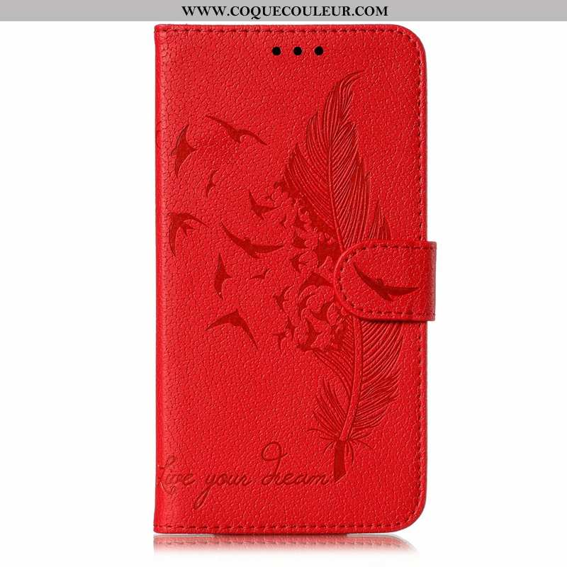 Coque Huawei Y6p Portefeuille Tout Compris Clamshell, Housse Huawei Y6p Cuir Incassable Rouge