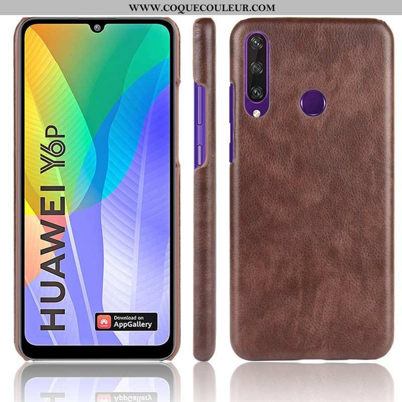 Coque Huawei Y6p Protection Litchi Difficile, Housse Huawei Y6p Modèle Fleurie Téléphone Portable Ma