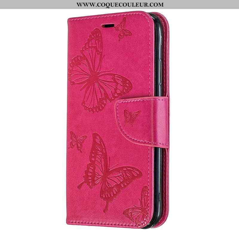 Housse Huawei Y6s Gaufrage Coque Papillon, Étui Huawei Y6s Cuir Jeunesse Rouge