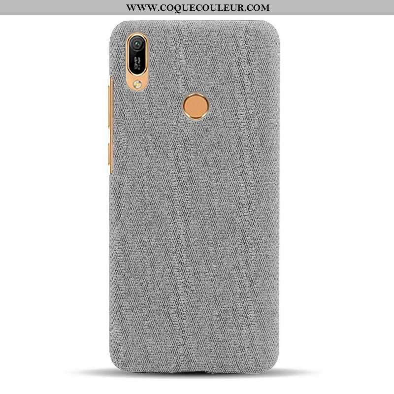 Coque Huawei Y6s Protection Difficile Gris, Housse Huawei Y6s Délavé En Daim Modèle Fleurie Gris