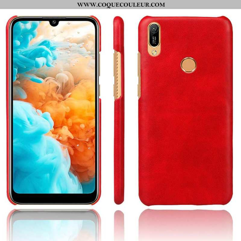 Coque Huawei Y6s Cuir Ultra Incassable, Housse Huawei Y6s Protection Étui Rouge