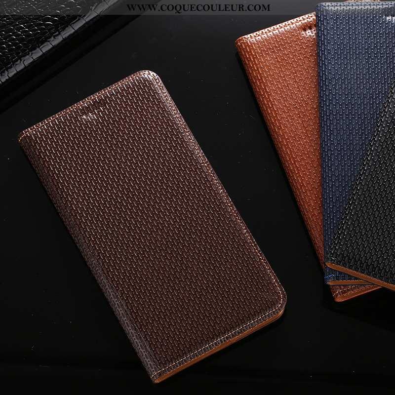 Housse Huawei Y7 2020 Protection Téléphone Portable Coque, Étui Huawei Y7 2020 Cuir Véritable Marron