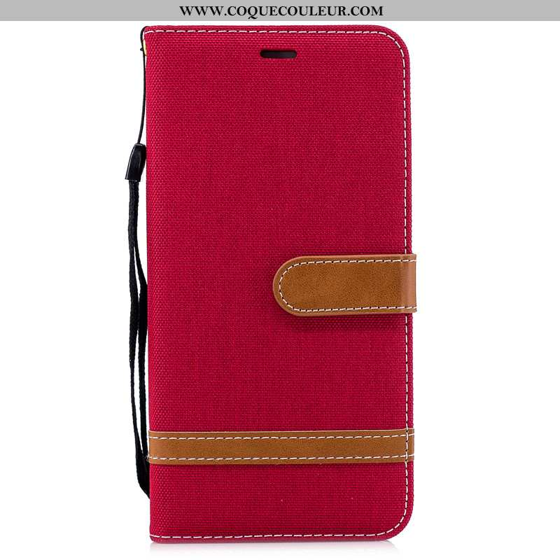 Housse Huawei Y7 2020 Cuir 2020 Coque, Étui Huawei Y7 2020 Protection Rouge