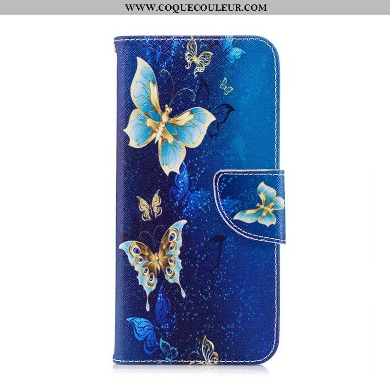 Housse Huawei Y7 2020 Cuir 2020 Étui, Étui Huawei Y7 2020 Protection Bleu Marin Bleu Foncé