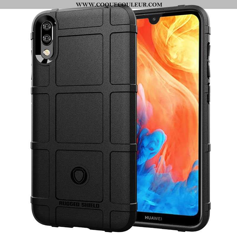 Étui Huawei Y7 2020 Délavé En Daim Modèle Fleurie Tendance, Coque Huawei Y7 2020 Personnalité Noir
