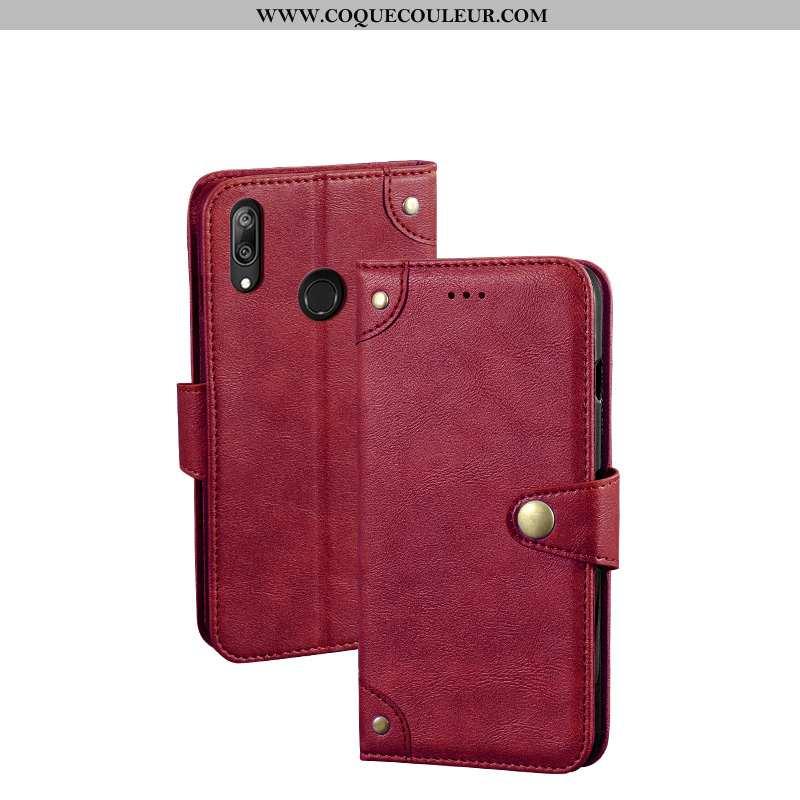 Étui Huawei Y7 2020 Portefeuille Créatif Rouge, Coque Huawei Y7 2020 Cuir Téléphone Portable Rouge