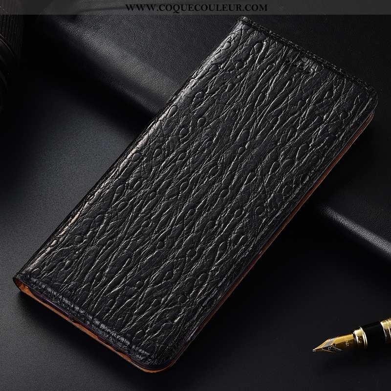 Étui Huawei Y7 2020 Cuir Véritable Noir Protection, Coque Huawei Y7 2020 Cuir 2020