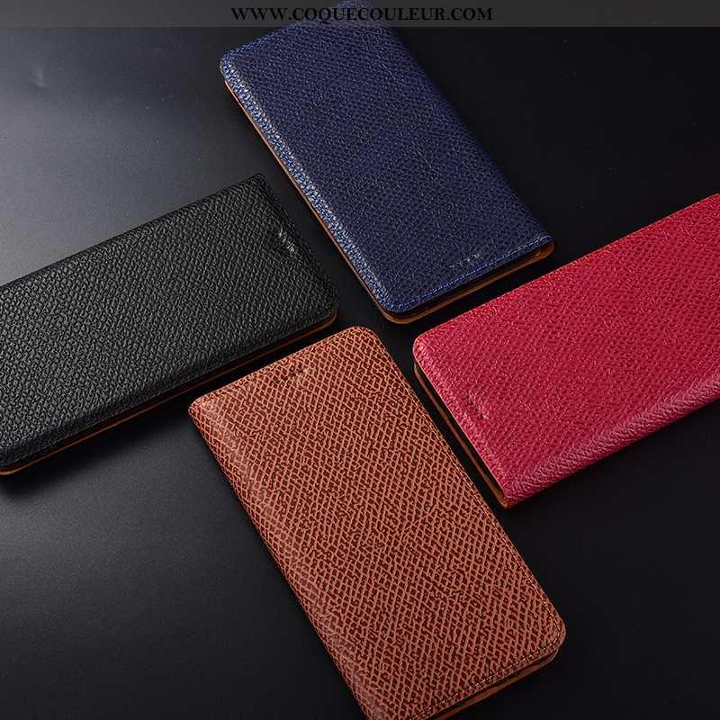 Étui Huawei Y7 2020 Cuir Véritable Rouge, Coque Huawei Y7 2020 Modèle Fleurie Protection Rouge