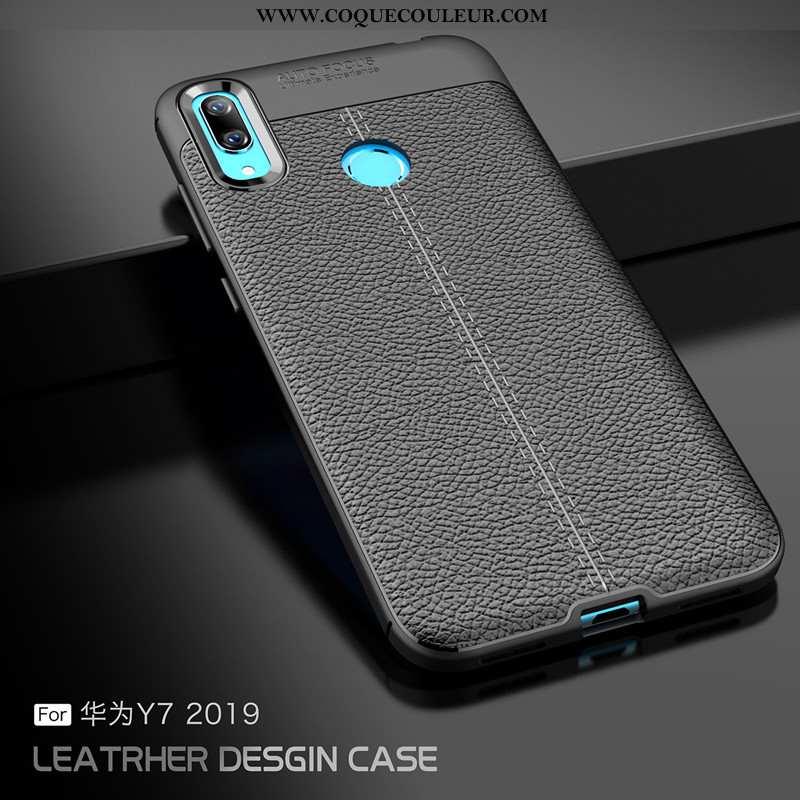 Étui Huawei Y7 2020 Modèle Fleurie Nouveau Cuir, Coque Huawei Y7 2020 Fluide Doux Simple Noir