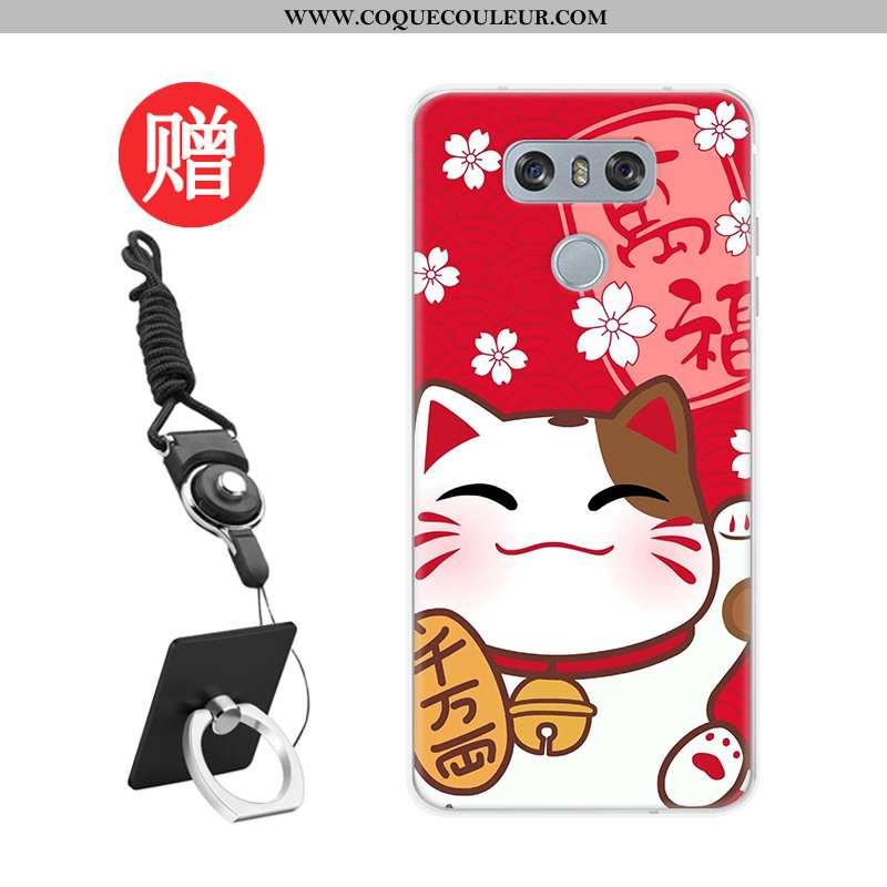 Étui Lg G6 Dessin Animé Téléphone Portable Rouge, Coque Lg G6 Tendance Membrane Rouge