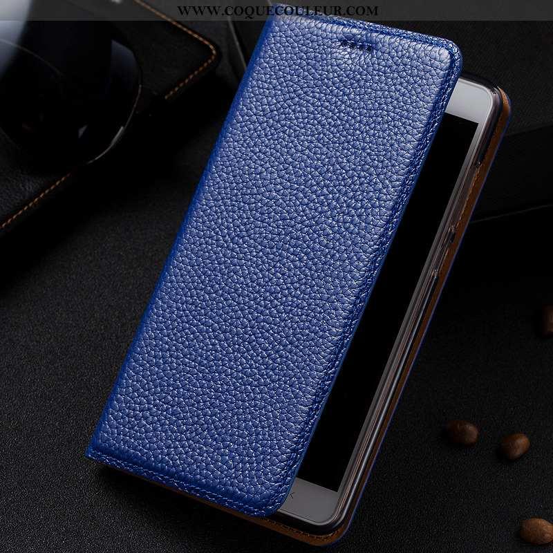 Étui Lg G6 Protection Cuir Téléphone Portable, Coque Lg G6 Cuir Véritable Bleu Foncé