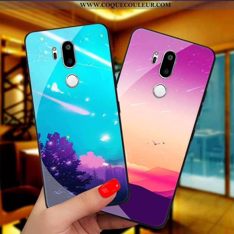 Housse Lg G7 Thinq Verre Étui Téléphone Portable, Lg G7 Thinq Personnalité Protection Violet
