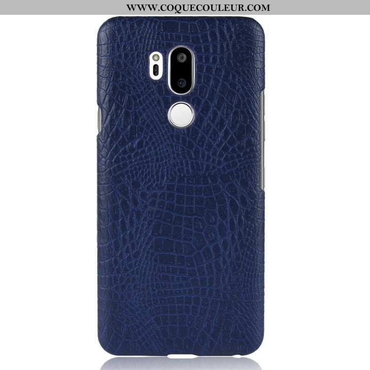 Housse Lg G7 Thinq Cuir Vintage Qualité, Étui Lg G7 Thinq Protection Bleu Foncé