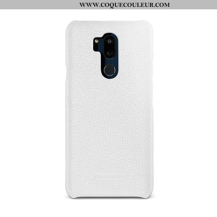 Housse Lg G7 Thinq Cuir Simple Coque, Étui Lg G7 Thinq Protection Blanc Blanche
