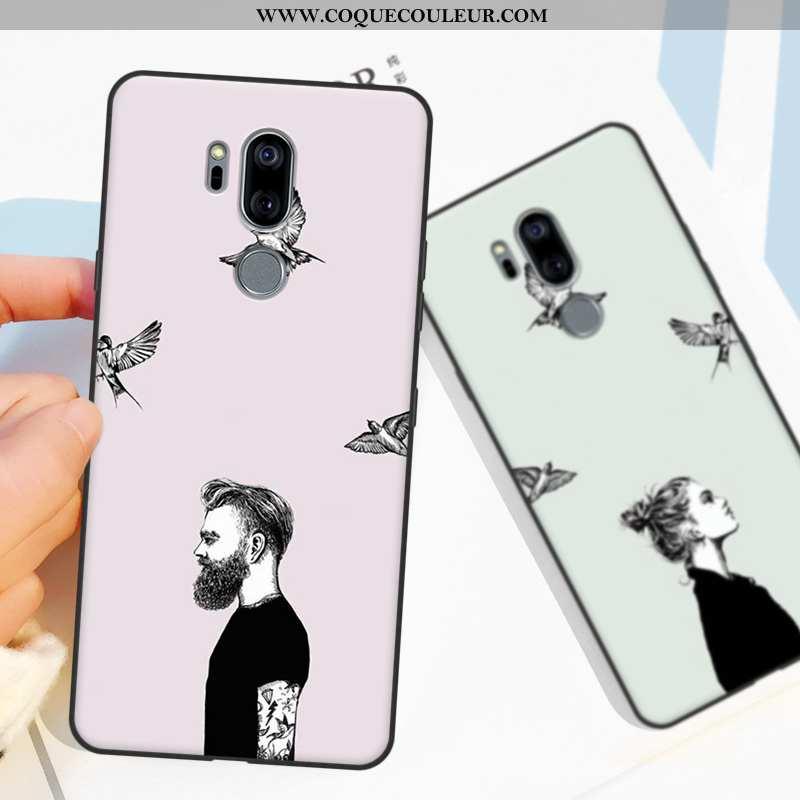 Étui Lg G7 Thinq Protection Fluide Doux Téléphone Portable, Coque Lg G7 Thinq Créatif Rose