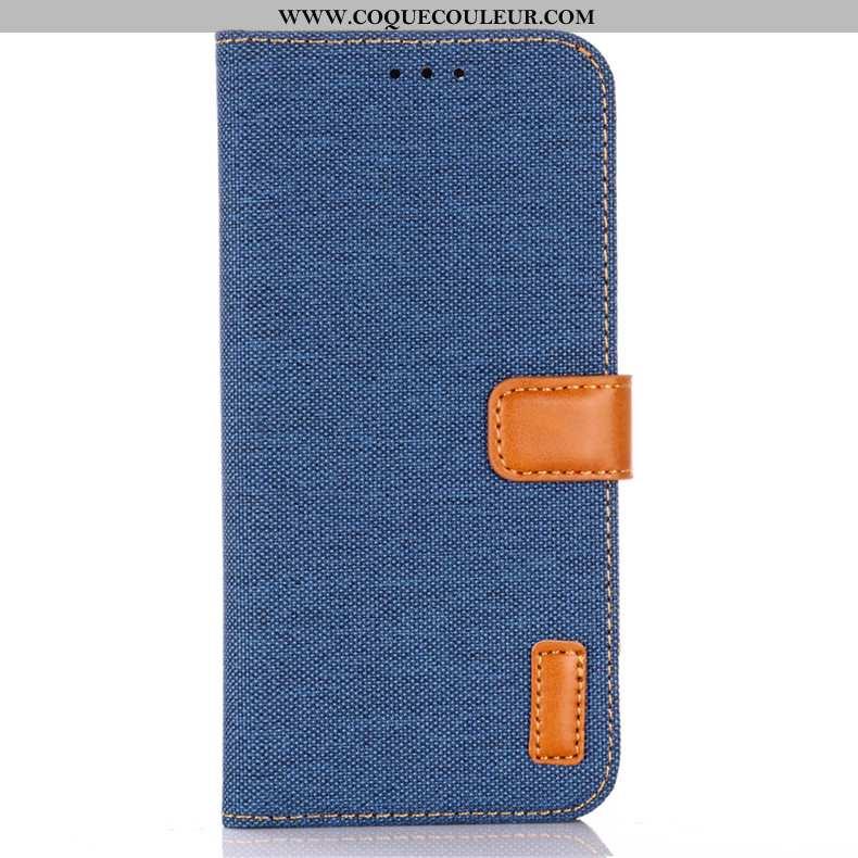 Étui Lg Q Stylus Protection Carte Incassable, Coque Lg Q Stylus Cuir Téléphone Portable Bleu