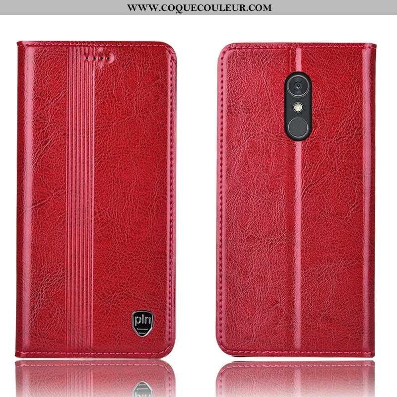 Coque Lg Q Stylus Protection Étui Rouge, Housse Lg Q Stylus Cuir Véritable Incassable Rouge