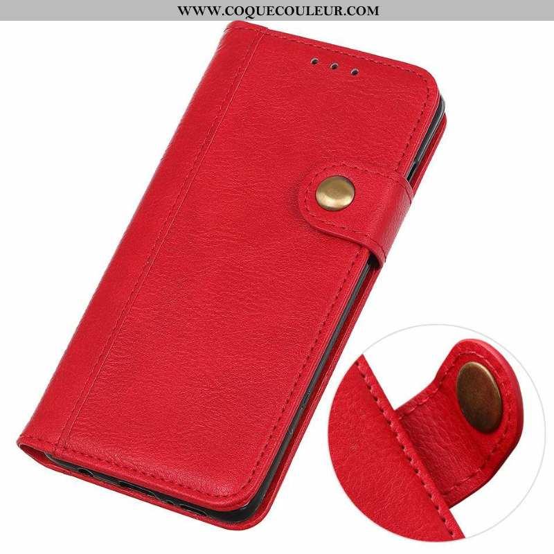 Coque Lg Q Stylus Téléphone Portable Une Agrafe Litchi, Housse Lg Q Stylus Étui Rouge
