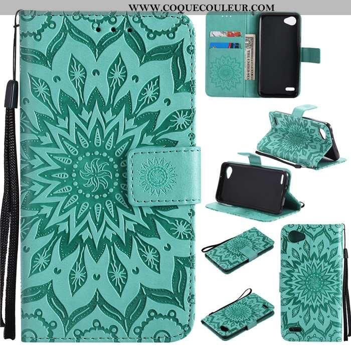 Coque Lg Q6 Cuir Clamshell Incassable, Housse Lg Q6 Silicone Téléphone Portable Verte