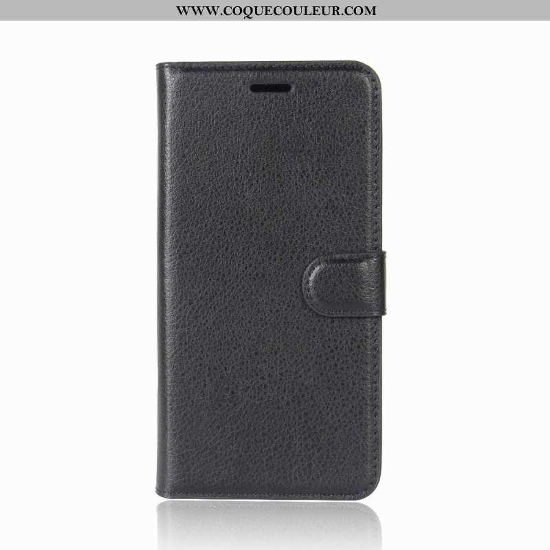 Étui Lg Q6 Protection Cuir Incassable, Coque Lg Q6 Portefeuille Téléphone Portable Noir
