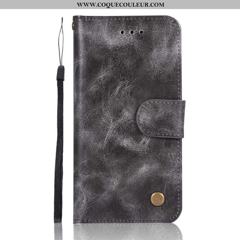 Housse Lg Q7 Cuir Carte Téléphone Portable, Étui Lg Q7 Vintage Gris