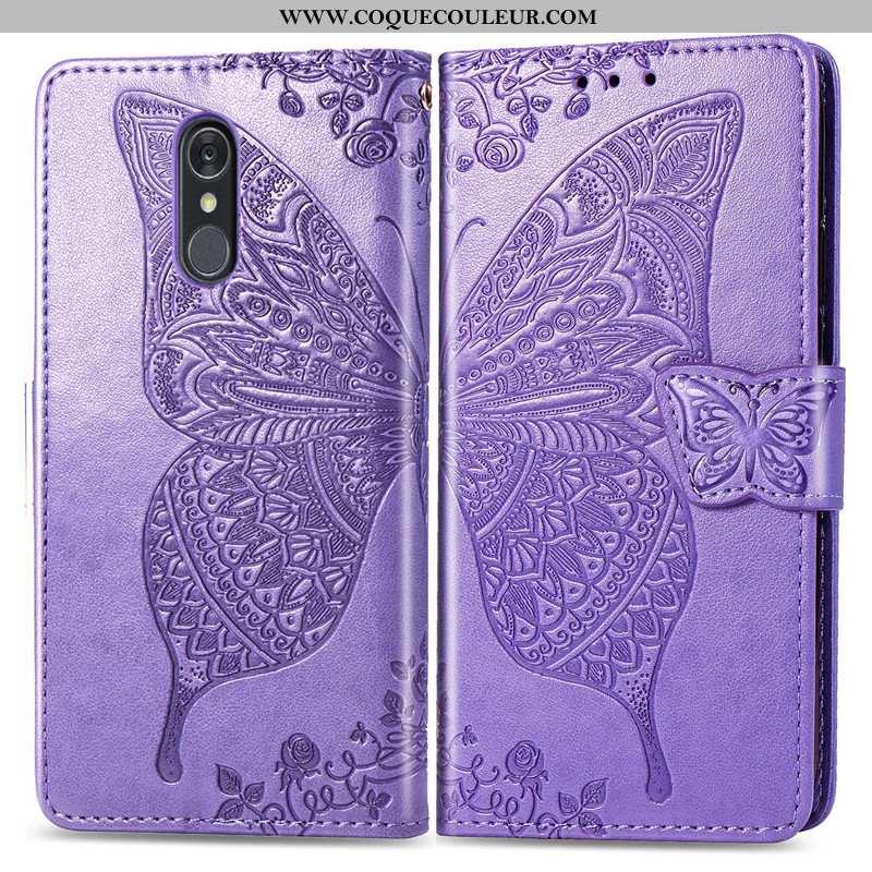 Étui Lg Q7 Protection Charmant En Relief, Coque Lg Q7 Ornements Suspendus Fleur Violet