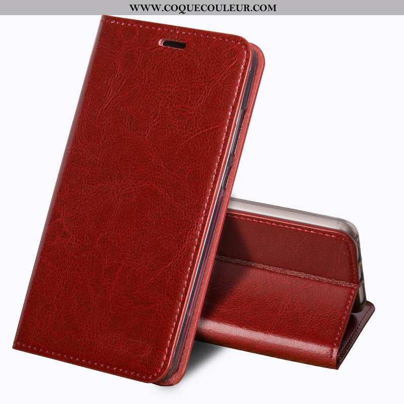 Housse Lg Q7 Vintage Protection Fluide Doux, Étui Lg Q7 Tendance Cuir Véritable Rouge