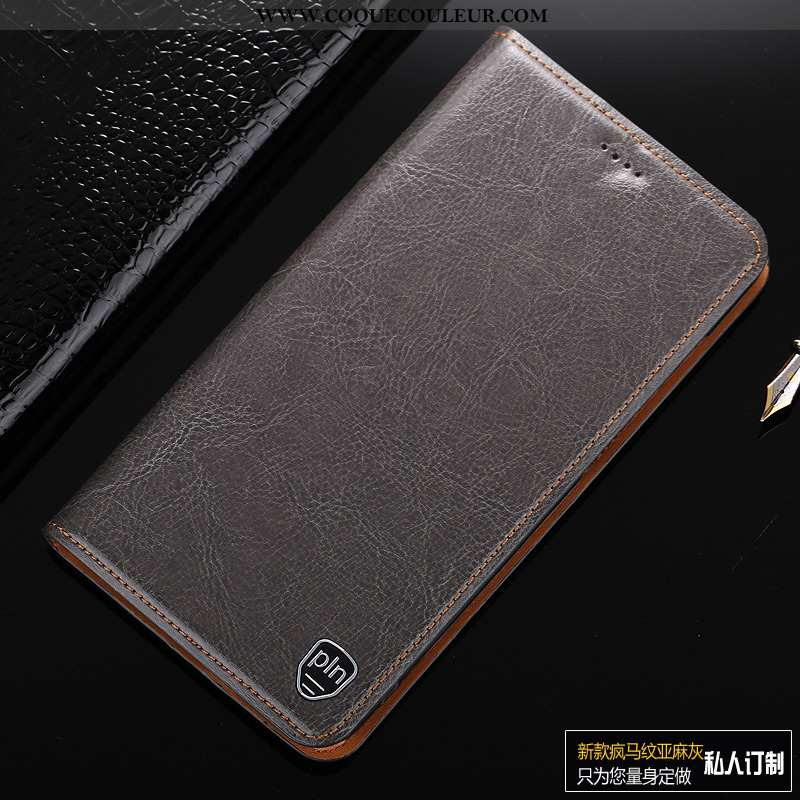 Housse Lg Q7 Cuir Véritable Téléphone Portable Coque, Étui Lg Q7 Cuir Europe Gris