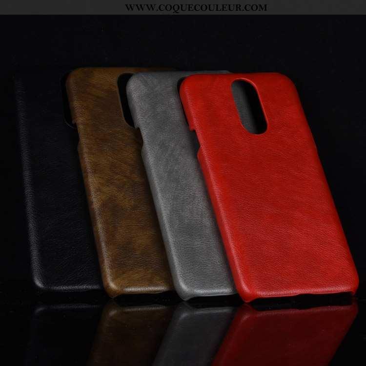 Étui Lg Q7 Cuir Téléphone Portable Incassable, Coque Lg Q7 Modèle Fleurie Protection Rouge