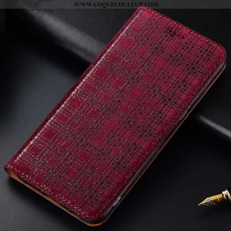 Coque Lg V30 Cuir Véritable Téléphone Portable Vin Rouge, Housse Lg V30 Modèle Fleurie Étui Bordeaux