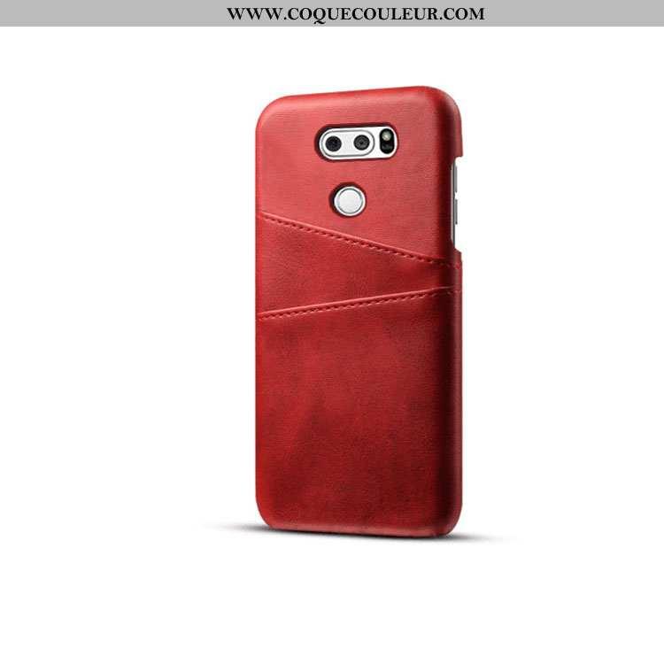 Coque Lg V30 Protection Carte Étui, Housse Lg V30 Cuir Téléphone Portable Rouge