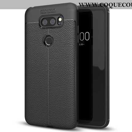 Housse Lg V30 Protection Téléphone Portable Noir, Étui Lg V30 Cuir Simple Noir