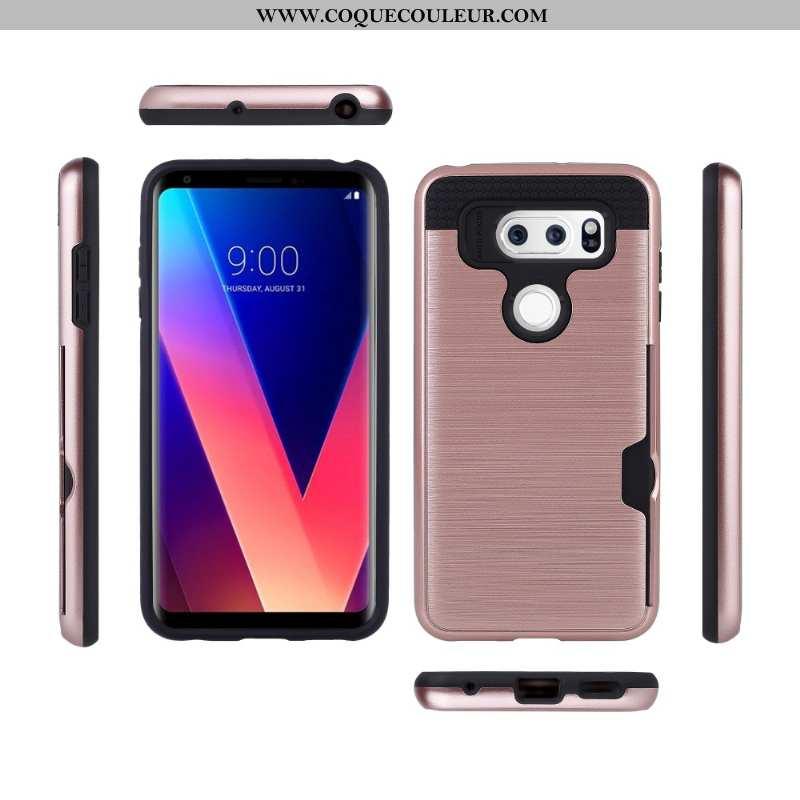 Étui Lg V30 Protection Soie Téléphone Portable, Coque Lg V30 Carte Rose
